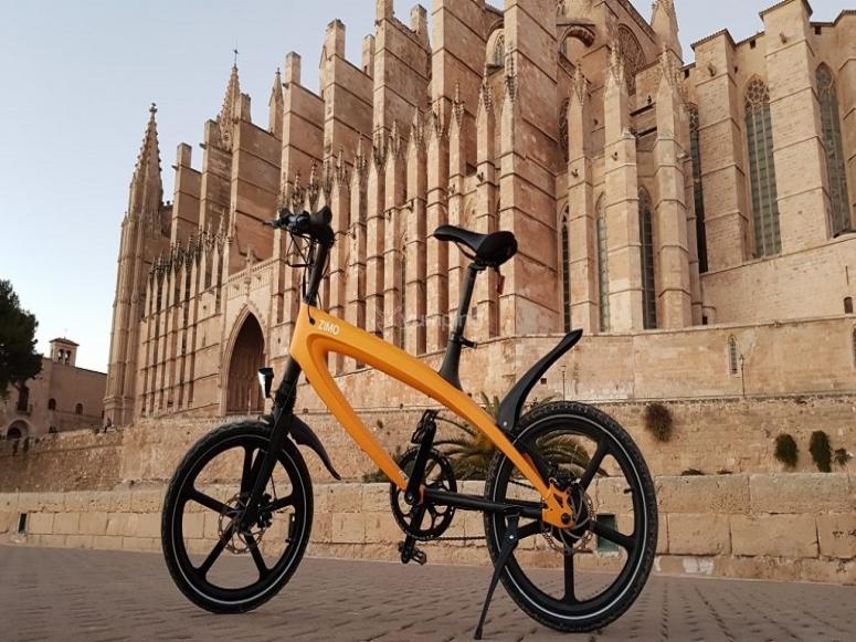 Yellow electric bicycle in Mallorca