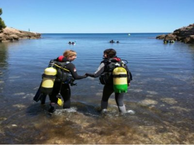 Diving baptism in Cala Llobeta in Calafat