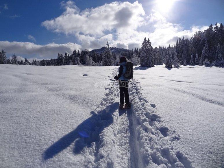 Disfrutando de un paseo con raquetas de nieve