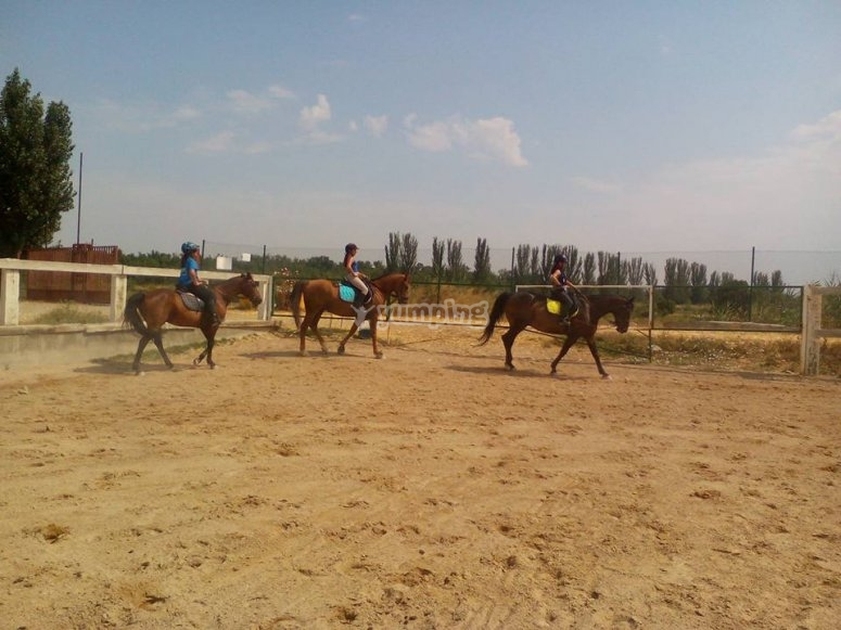 Riding on outdoor track