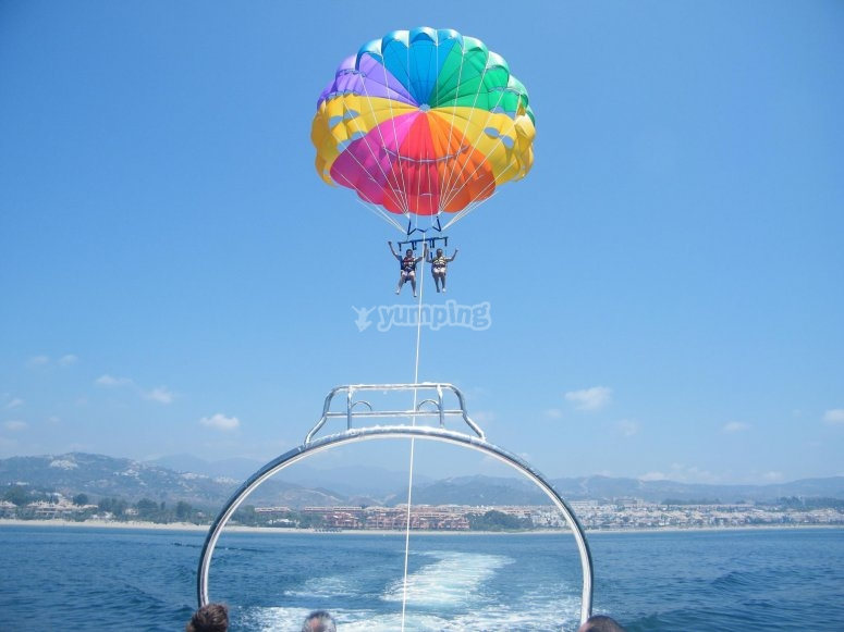 Ascending on the parasail