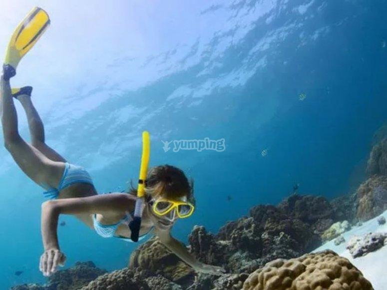 Parada para el snorkel