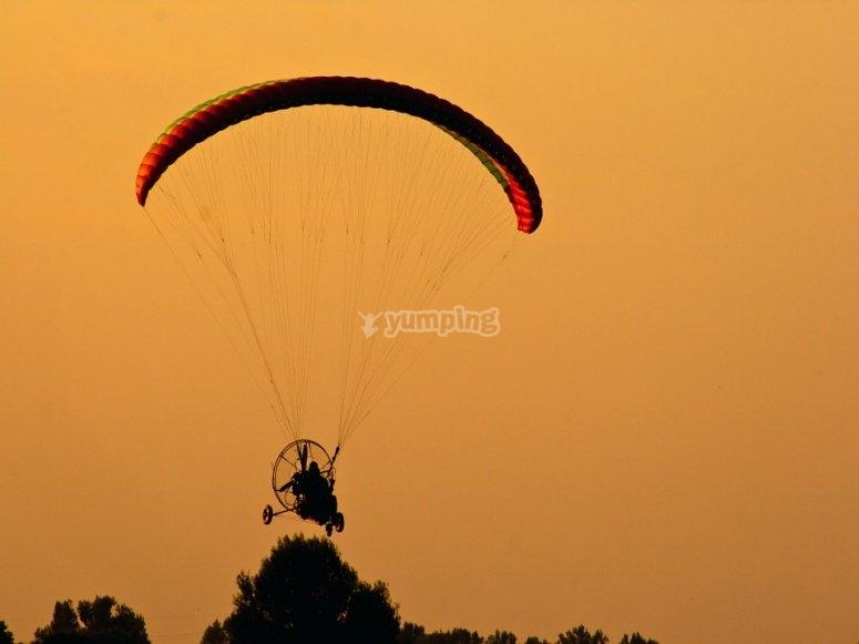 Paramotor at sunset