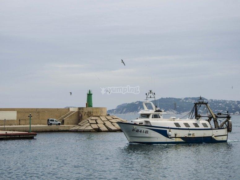 Barco entrando en puerto pesquero Xàbia