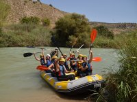 Rafting raft stopped in the reeds