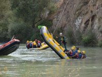 Falling into the water with the raft