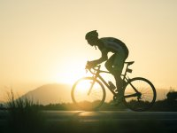 Cycling while the sun sets