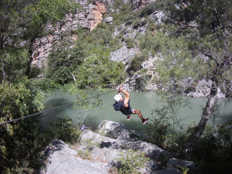 Zip-line to start this canyoning route