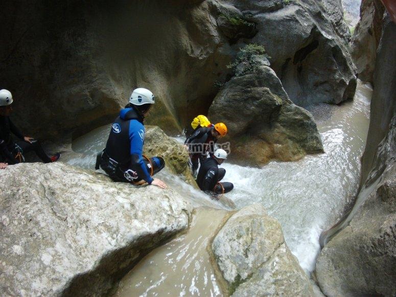 Down the rock slides