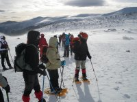 Crossing with snowshoes