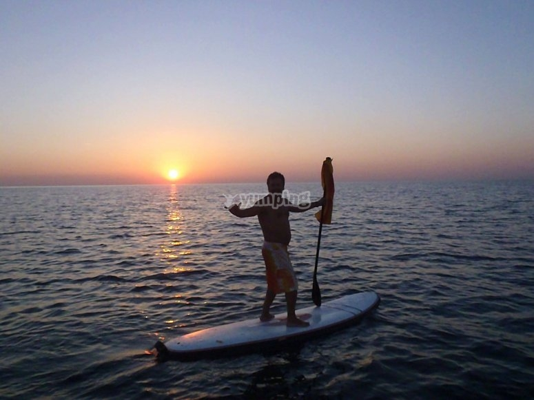 SUP ride at sunset in Badalona