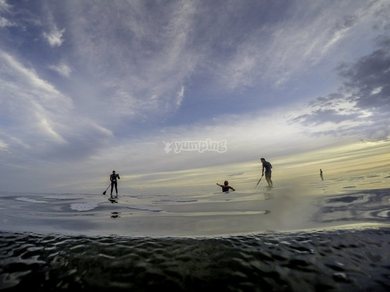 Paddle surf at sunset in Tarragona