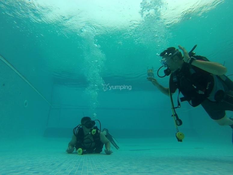 Instructor y alumno enseñando inmersión en piscina