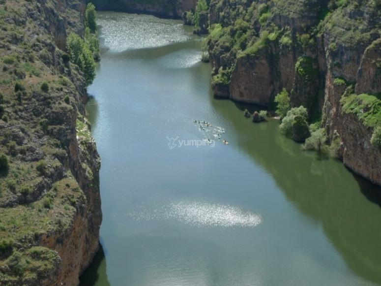 Quiet water river in kayak