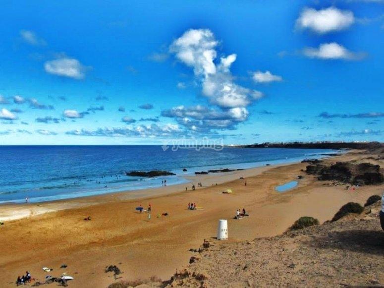 Playa de Corralejo curso de windsurf
