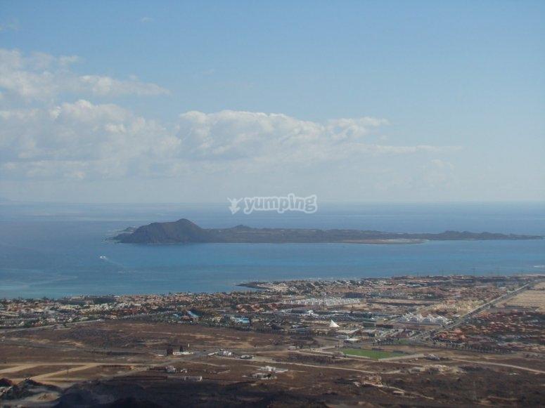 Vistas desde volcán en Corralejo