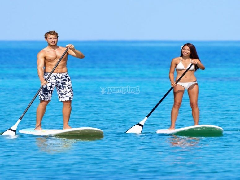 Paddle surfing in Murcia's beach