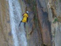 住宿山上下来的松树间的瀑布垂降训练营