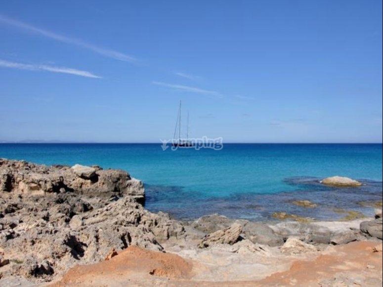 福门特拉岛的岩石海滩