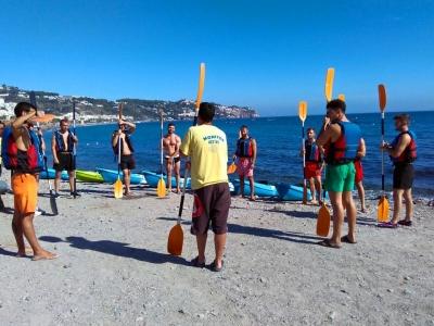 皮划艇在La Herradura海滩上