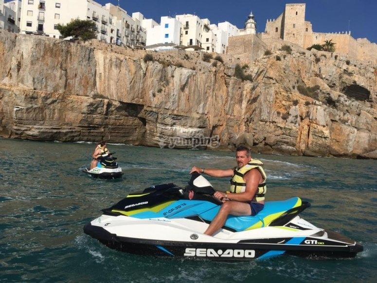 Ruta guiada en moto de agua biplaza Alcocéber