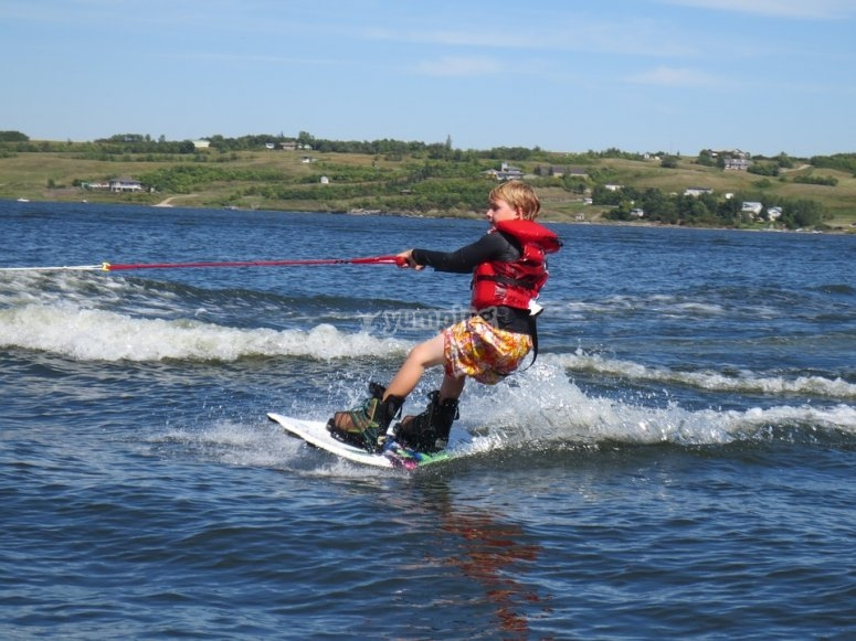 Trying wakeboarding