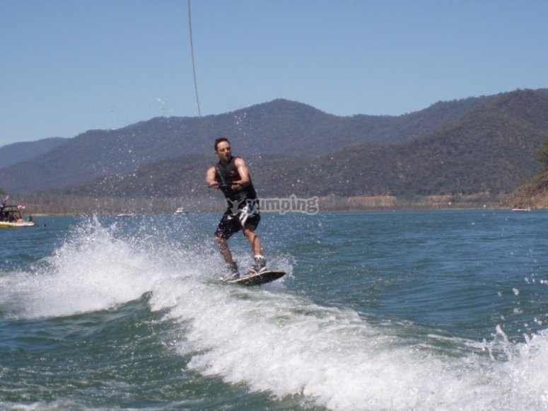 Wakeboard gaining speed