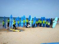 Alumnos con tablas azules