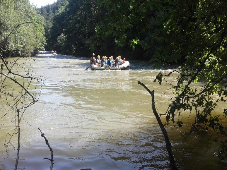 Remando en un tramo del Ebro