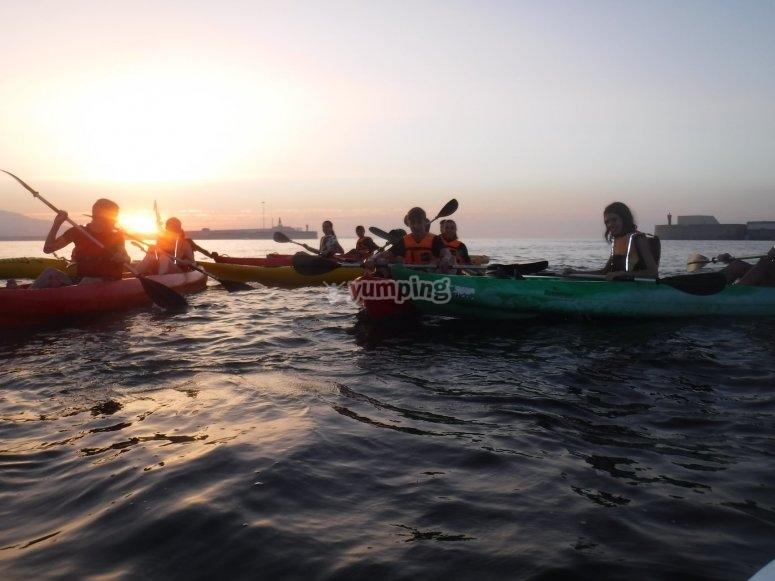 Ruta en kayak nocturna Ceuta