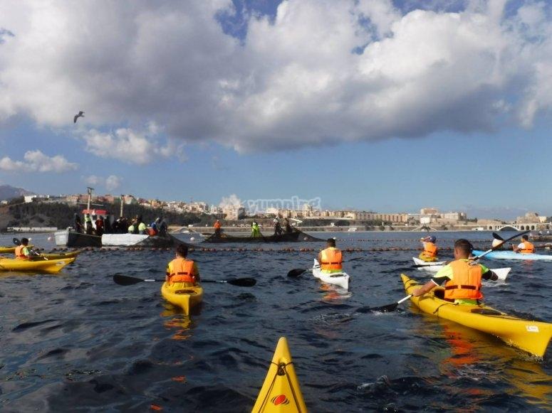 Salidas en grupo kayak Ceuta