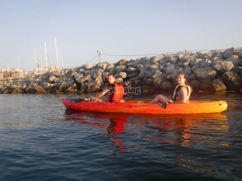 Kayak biplaza en Ceuta ruta