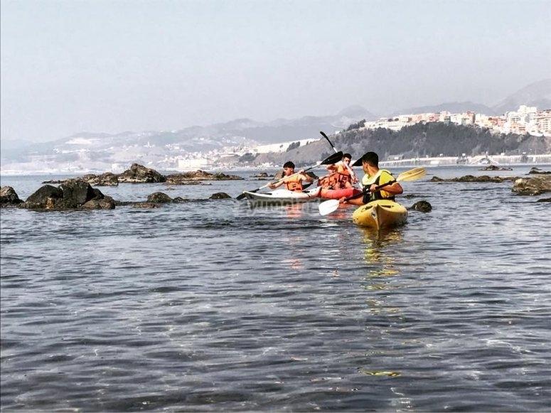 Paseo en kayak costa sur de Ceuta