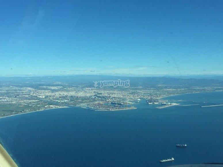 Paisaje valenciano desde la cabina del piloto