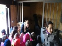 children visiting some horses