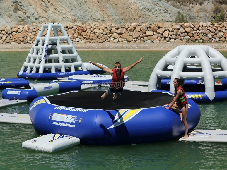 Inflatable mat in the water