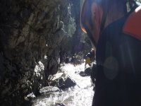 Practicing canyoning in lion