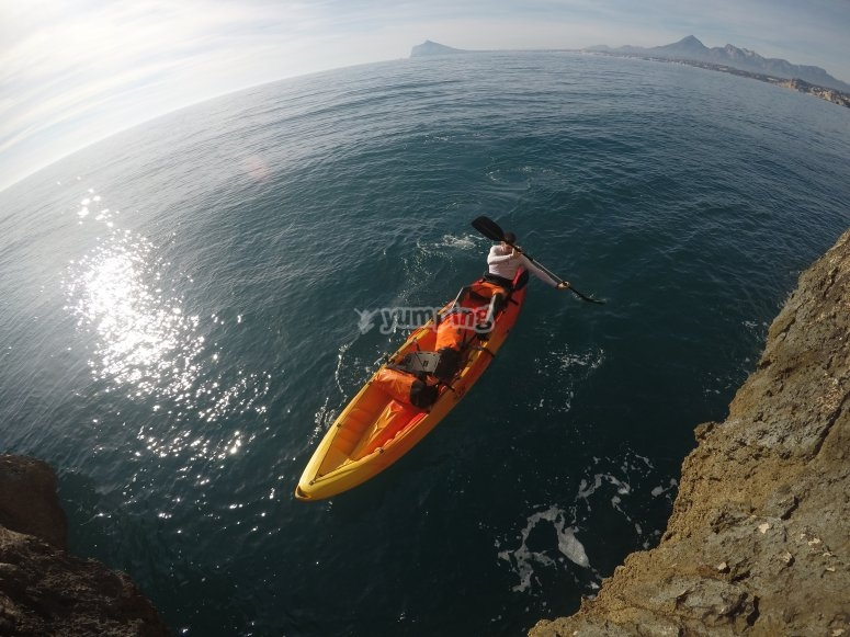 Kayak adventure in the sea in Calpe