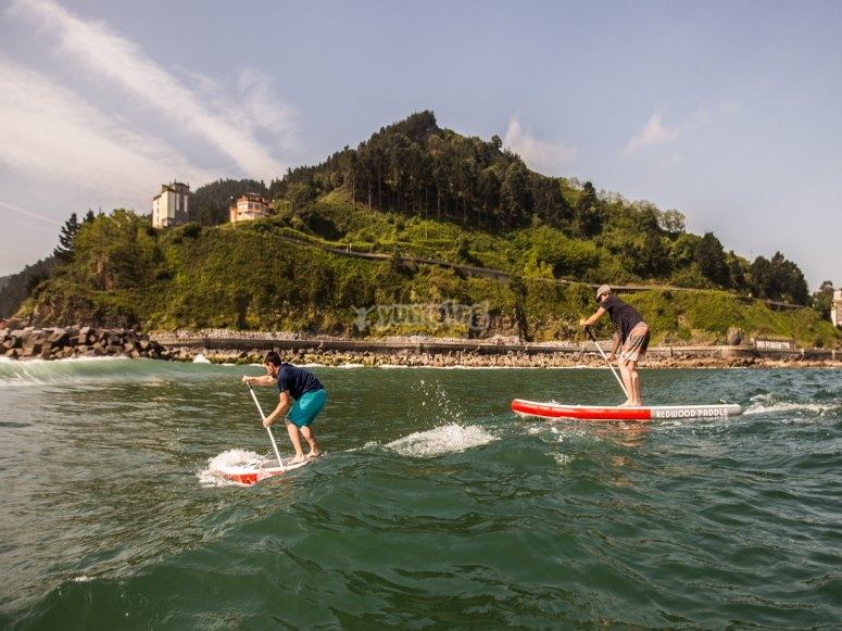 Paddle surf route with rented equipment
