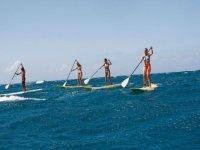 cuatro chicas practicando paddle surf