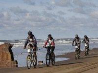 几个冲浪冒险骑自行车沿着海边骑自行车