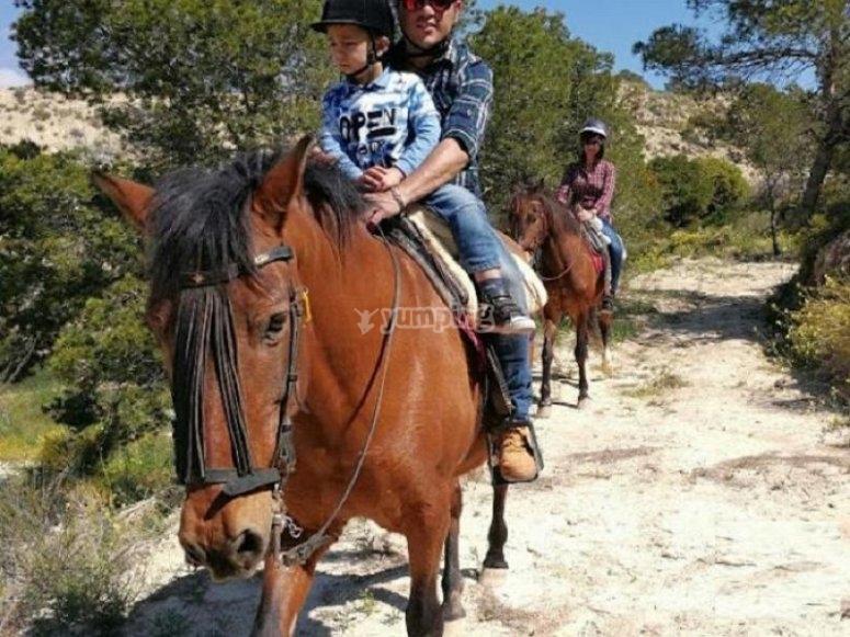 父亲和儿子比利亚霍约萨骑马
