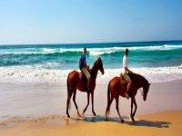 两名男子骑着马沿着岸边