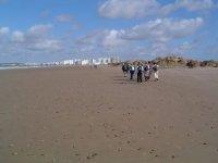 一群人走在沙滩上
