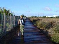 人走在一座木桥