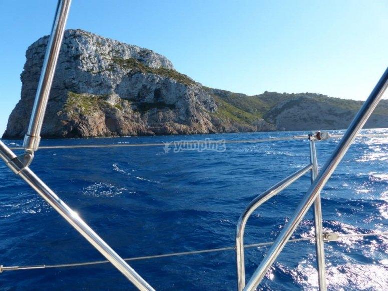 Sailboat route in Es Caragol beach