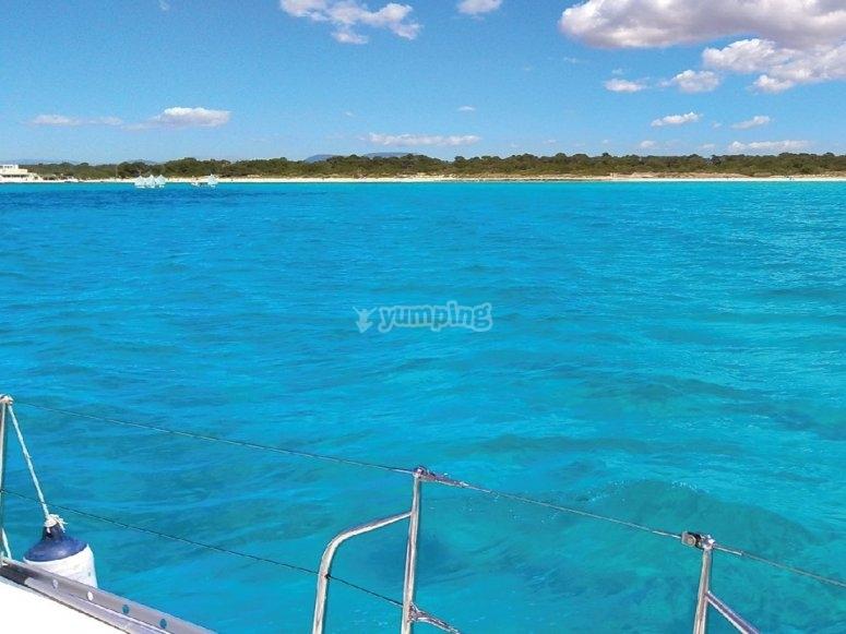 Saling across Majorca's turquoise sea
