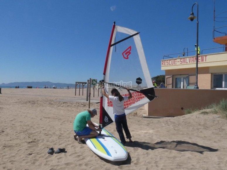 Doing inflatable windsurfing in Estartit
