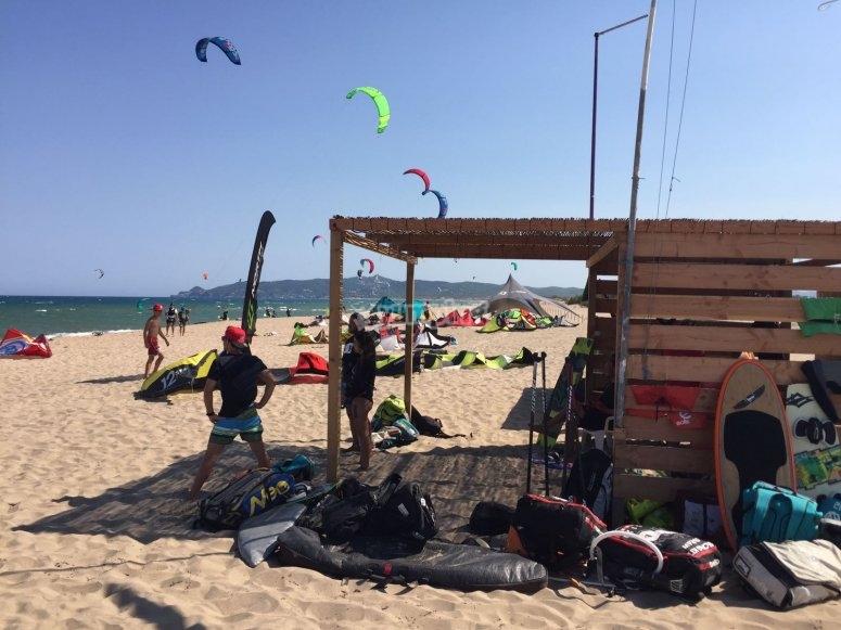 In L'Estartit beach doing windsurfing
