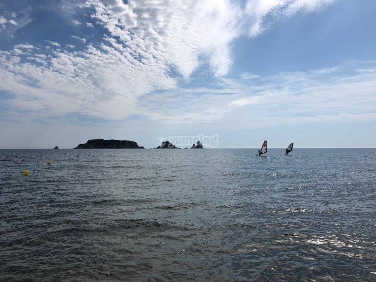 Windsurfing baptism in Estartit